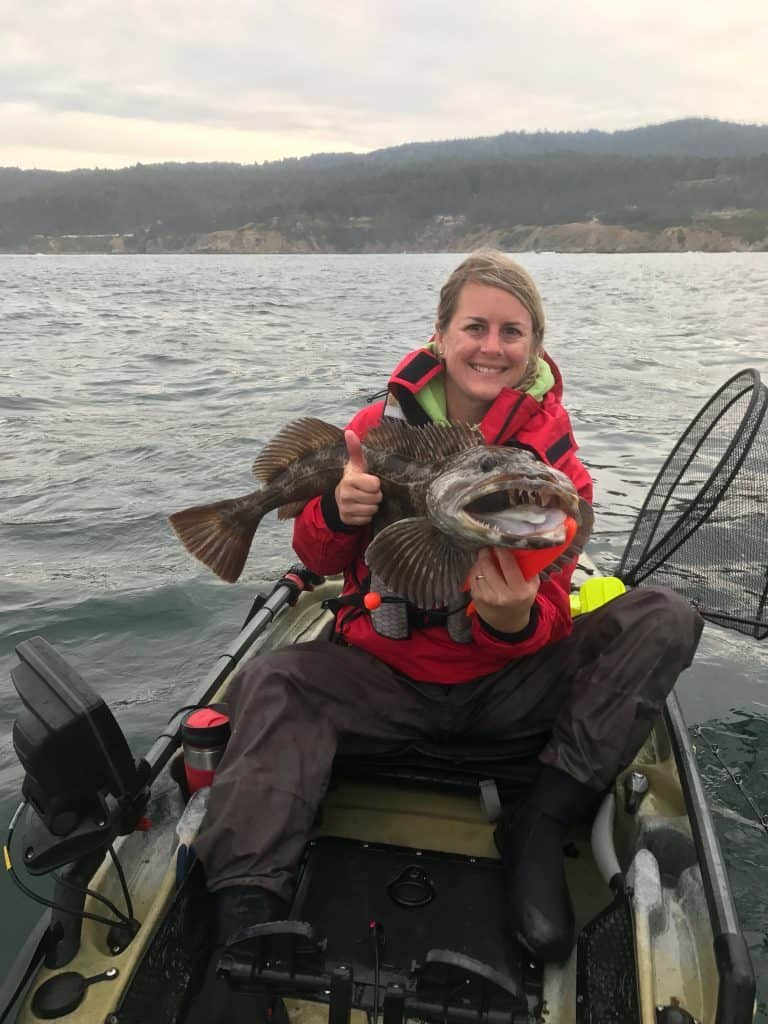 lingcod in a kayak