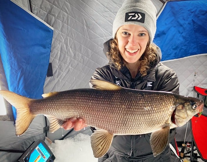 ice fishing for whitefish