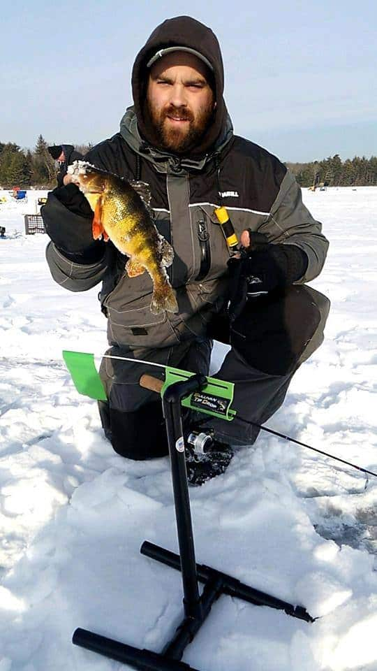 ice fishing with tip downs